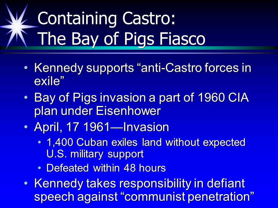 "Containing Castro: The Bay of Pigs Fiasco Kennedy supports ""anti-Castro forces in exile""Kennedy supports ""anti-Castro forces in exile"" Bay of Pigs inv"