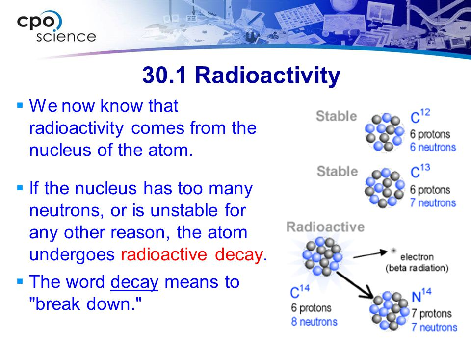30.1 Radioactivity  We now know that radioactivity comes from the nucleus of the atom.  If the nucleus has too many neutrons, or is unstable for any