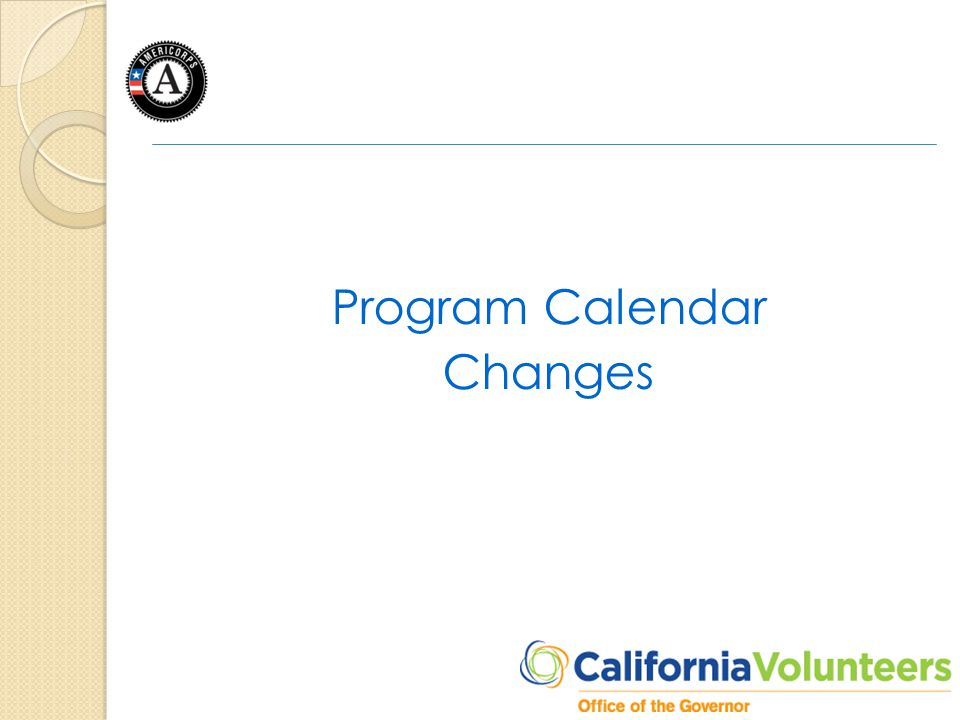 Program Calendar Changes