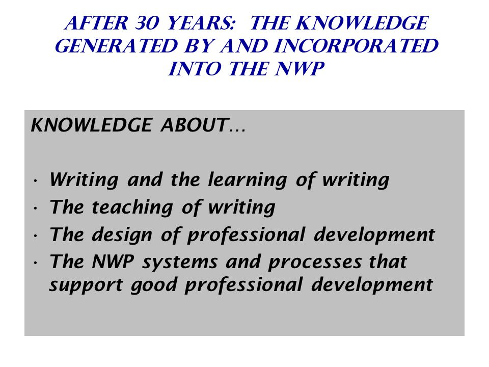 After 30 Years: The Knowledge Generated By and Incorporated Into the NWP KNOWLEDGE ABOUT… Writing and the learning of writing The teaching of writing The design of professional development The NWP systems and processes that support good professional development