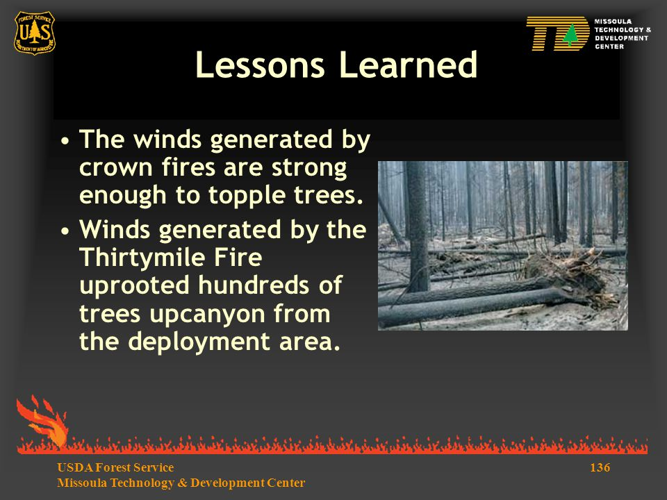 136USDA Forest Service Missoula Technology & Development Center Lessons Learned The winds generated by crown fires are strong enough to topple trees.