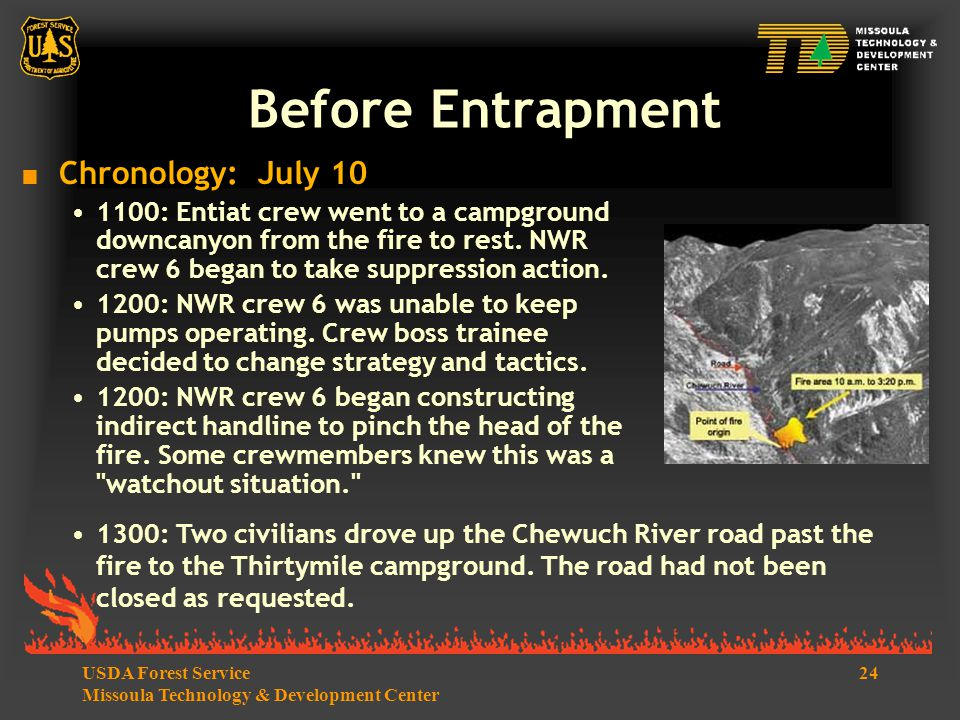 24USDA Forest Service Missoula Technology & Development Center Before Entrapment  Chronology: July 10 1100: Entiat crew went to a campground downcanyon from the fire to rest.