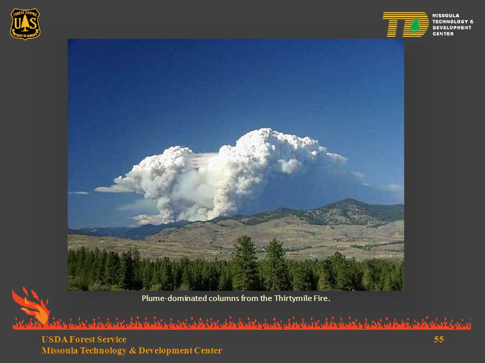 55USDA Forest Service Missoula Technology & Development Center Plume-dominated columns from the Thirtymile Fire.
