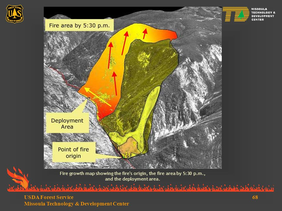 68USDA Forest Service Missoula Technology & Development Center Fire growth map showing the fire s origin, the fire area by 5:30 p.m., and the deployment area.