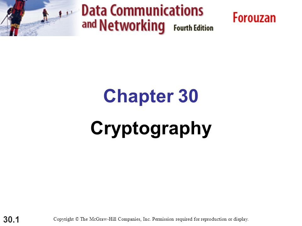 30.1 Chapter 30 Cryptography Copyright © The McGraw-Hill Companies, Inc.