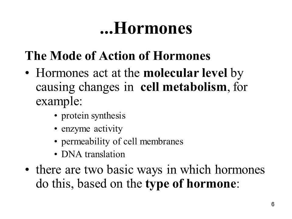 6...Hormones The Mode of Action of Hormones Hormones act at the molecular level by causing changes in cell metabolism, for example: protein synthesis