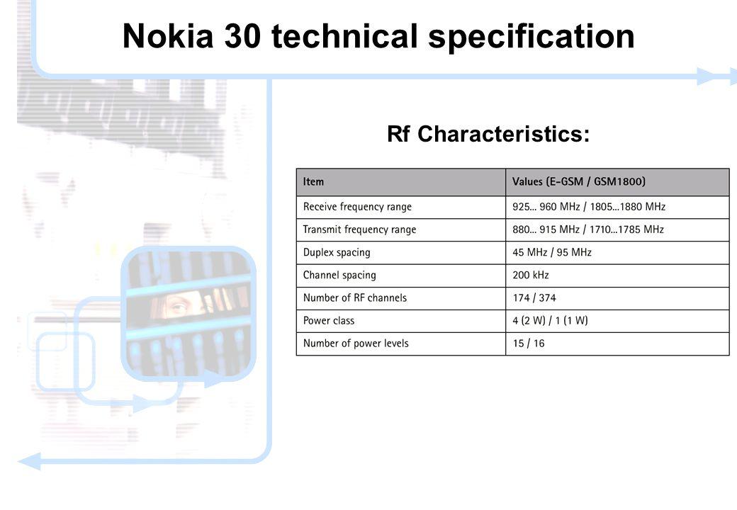 10 © NOKIA FILENAMs.PPT/ DATE / NN Rf Characteristics: Nokia 30 technical specification
