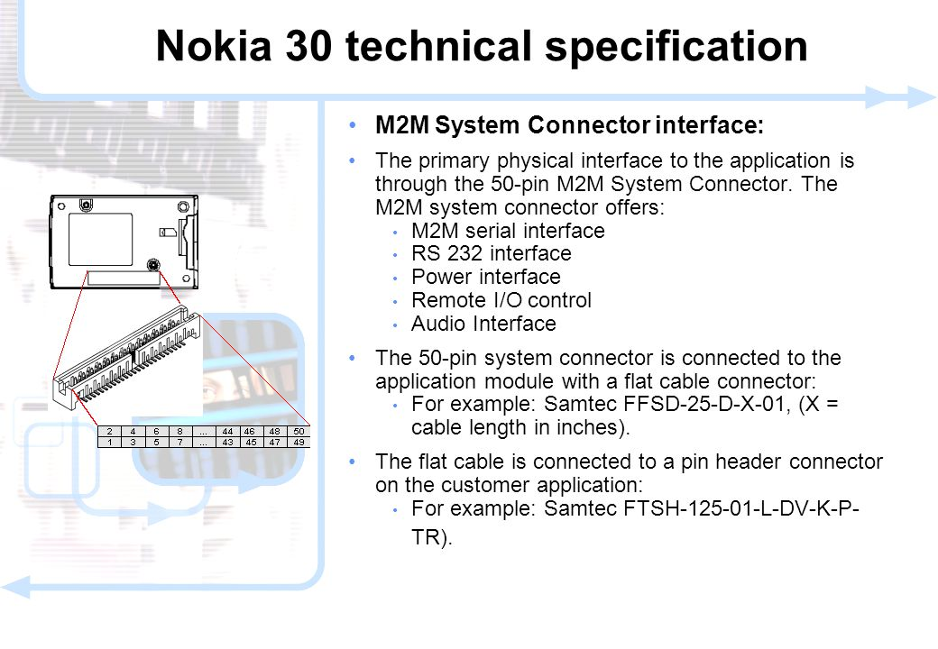 14 © NOKIA FILENAMs.PPT/ DATE / NN M2M System Connector interface: The primary physical interface to the application is through the 50-pin M2M System