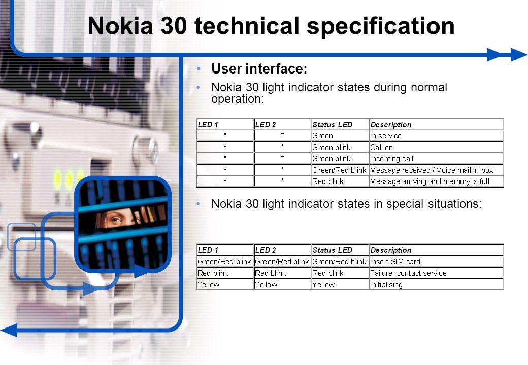 22 © NOKIA FILENAMs.PPT/ DATE / NN User interface: Nokia 30 light indicator states during normal operation: Nokia 30 light indicator states in special