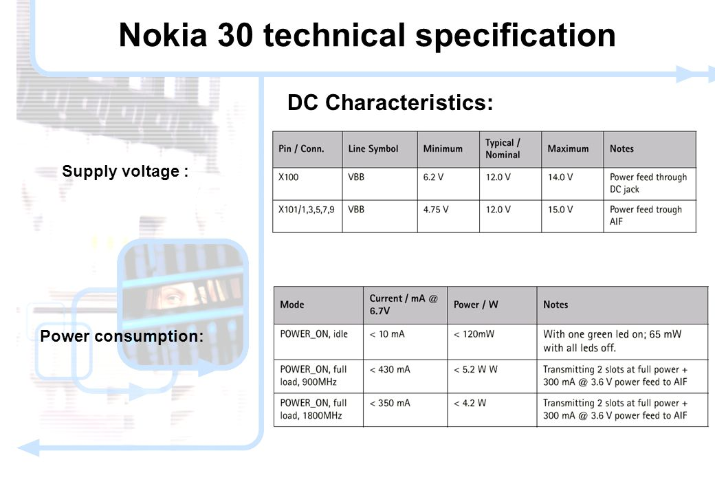 9 © NOKIA FILENAMs.PPT/ DATE / NN Supply voltage : DC Characteristics: Power consumption: Nokia 30 technical specification