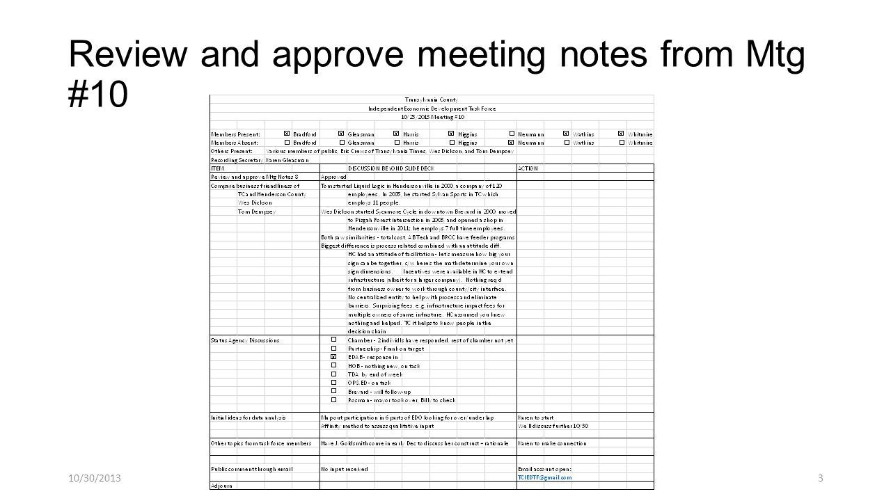 Review and approve meeting notes from Mtg #10 10/30/20133