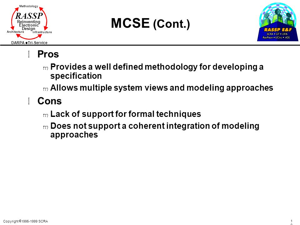 Copyright  1995-1999 SCRA 105105 Methodology Reinventing Electronic Design Architecture Infrastructure DARPA Tri-Service RASSP MCSE (Cont.) l Pros m Provides a well defined methodology for developing a specification m Allows multiple system views and modeling approaches l Cons m Lack of support for formal techniques m Does not support a coherent integration of modeling approaches