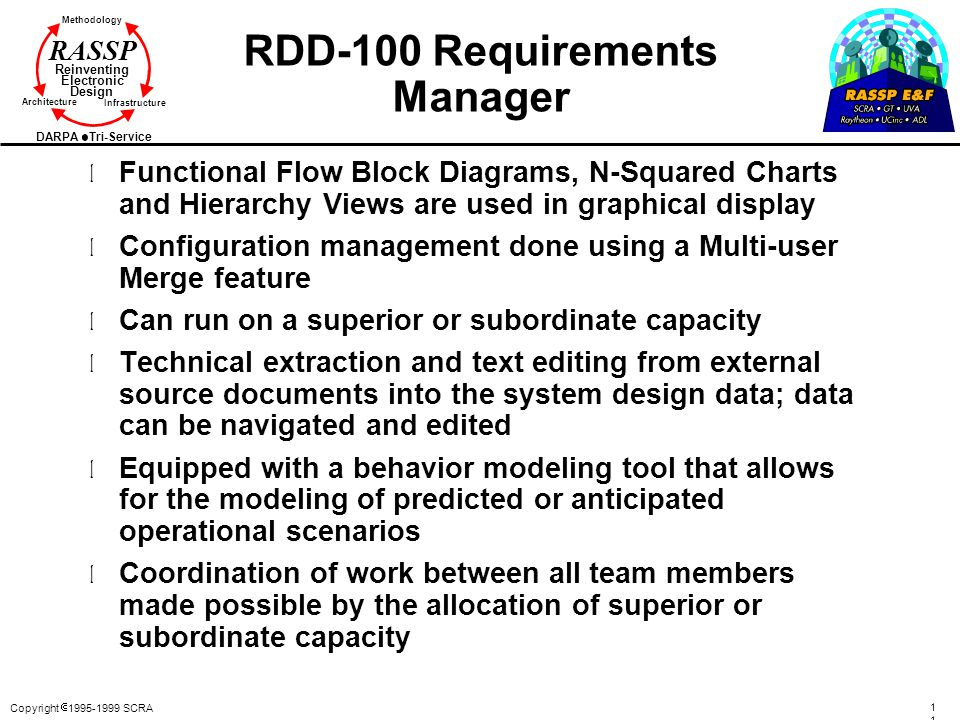 Copyright  1995-1999 SCRA 118118 Methodology Reinventing Electronic Design Architecture Infrastructure DARPA Tri-Service RASSP RDD-100 Requirements M