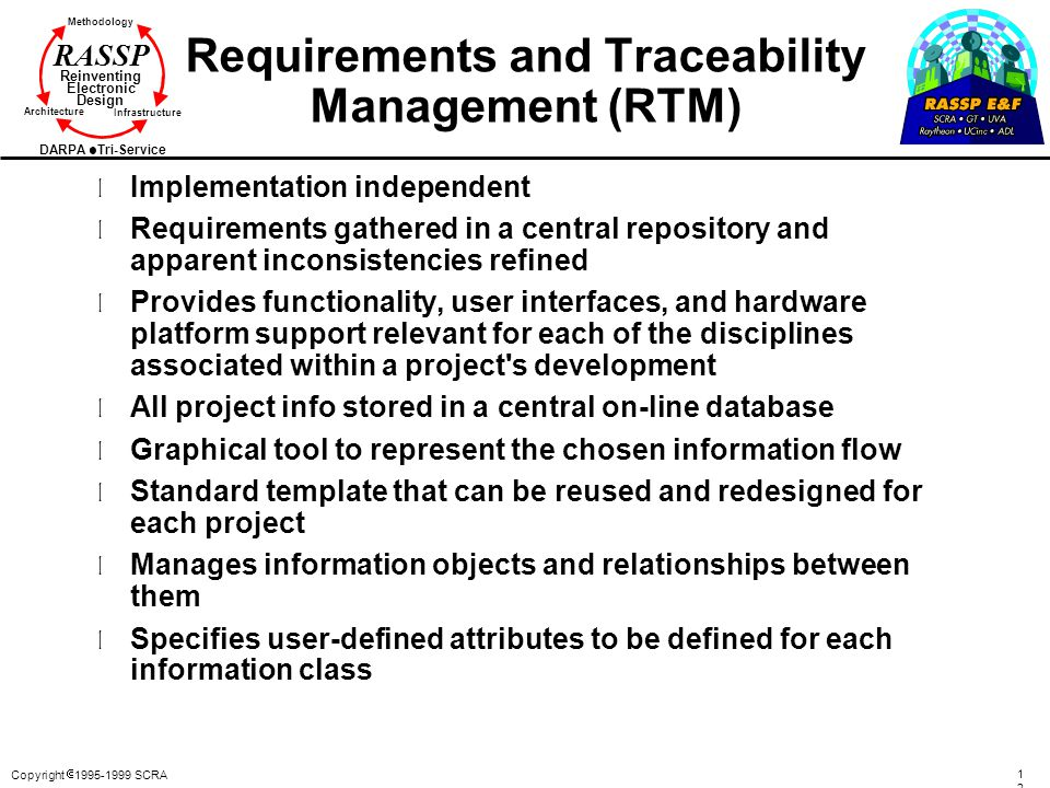 Copyright  1995-1999 SCRA 122122 Methodology Reinventing Electronic Design Architecture Infrastructure DARPA Tri-Service RASSP Requirements and Trace