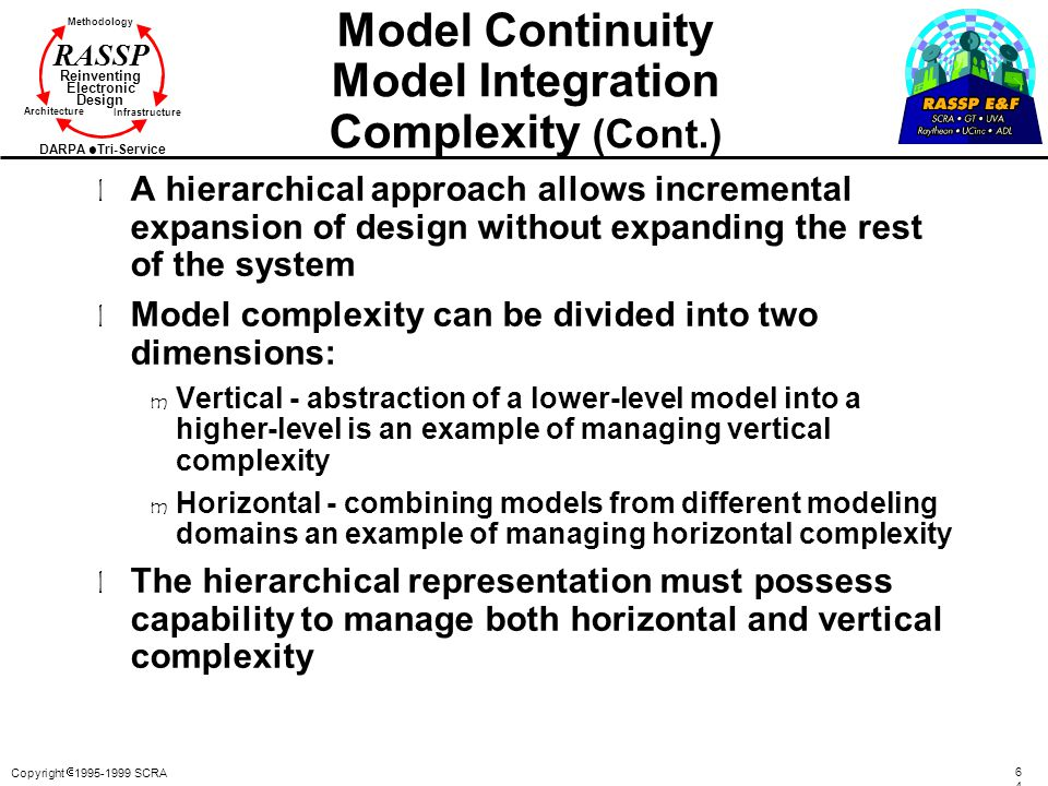 Copyright  1995-1999 SCRA 6464 Methodology Reinventing Electronic Design Architecture Infrastructure DARPA Tri-Service RASSP Model Continuity Model Integration Complexity (Cont.) l A hierarchical approach allows incremental expansion of design without expanding the rest of the system l Model complexity can be divided into two dimensions: m Vertical - abstraction of a lower-level model into a higher-level is an example of managing vertical complexity m Horizontal - combining models from different modeling domains an example of managing horizontal complexity l The hierarchical representation must possess capability to manage both horizontal and vertical complexity