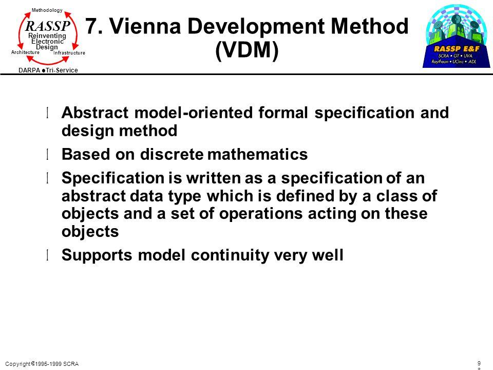 Copyright  1995-1999 SCRA 9898 Methodology Reinventing Electronic Design Architecture Infrastructure DARPA Tri-Service RASSP 7.
