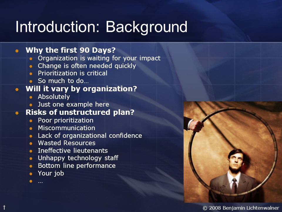 Introduction: Overview For simplicity and recollection, a framework of People, Products and Processes are addressed over 3 stages of 90 days.