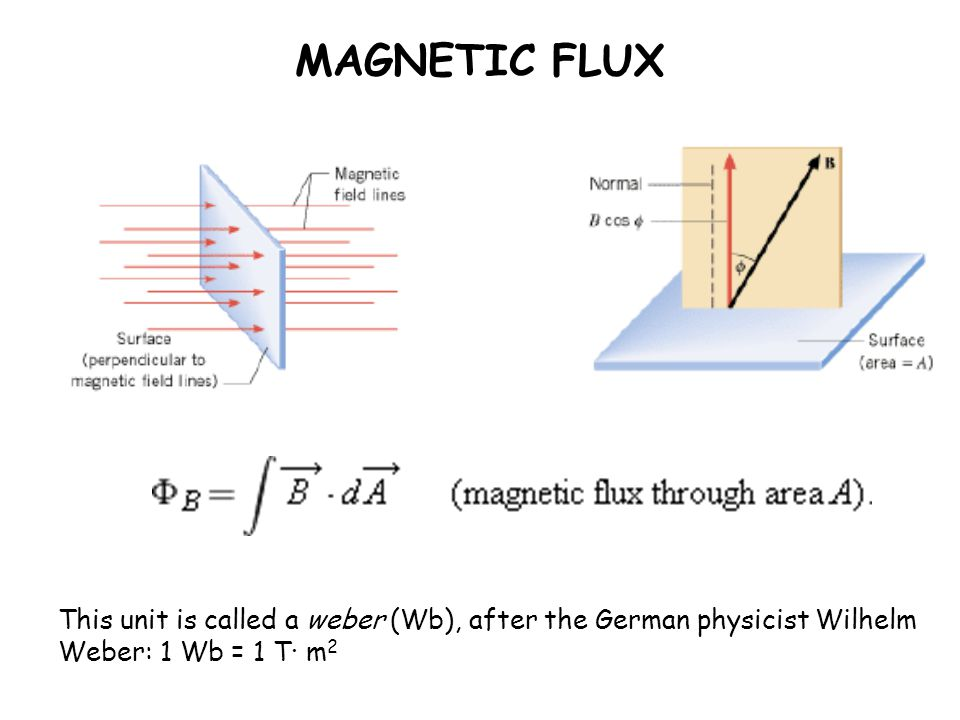 MAGNETIC FLUX This unit is called a weber (Wb), after the German physicist Wilhelm Weber: 1 Wb = 1 T· m 2