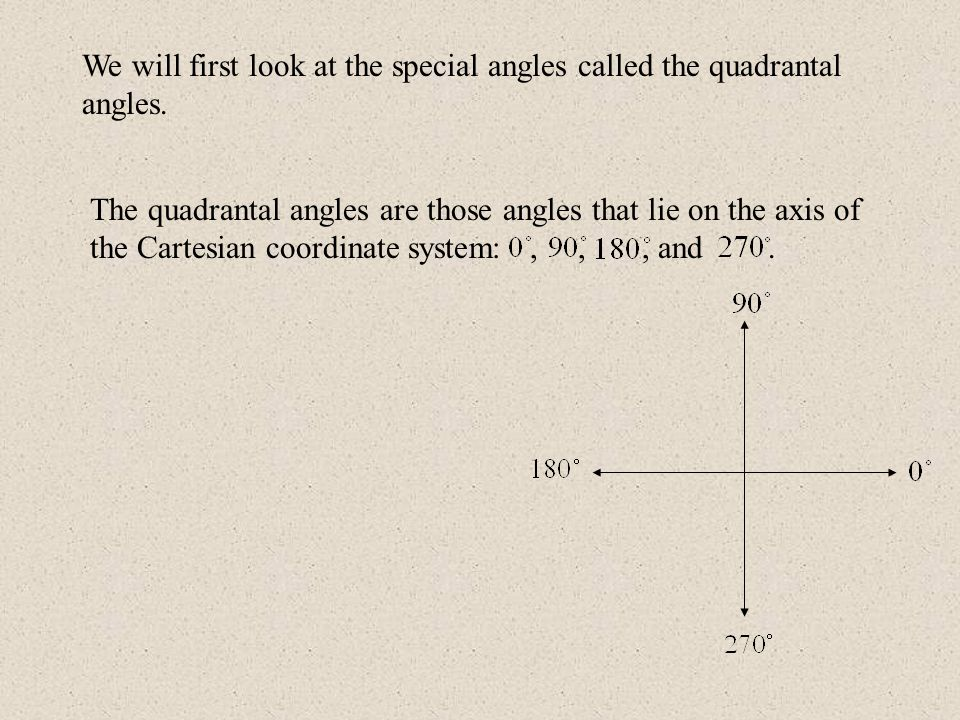 We will first look at the special angles called the quadrantal angles. The quadrantal angles are those angles that lie on the axis of the Cartesian co