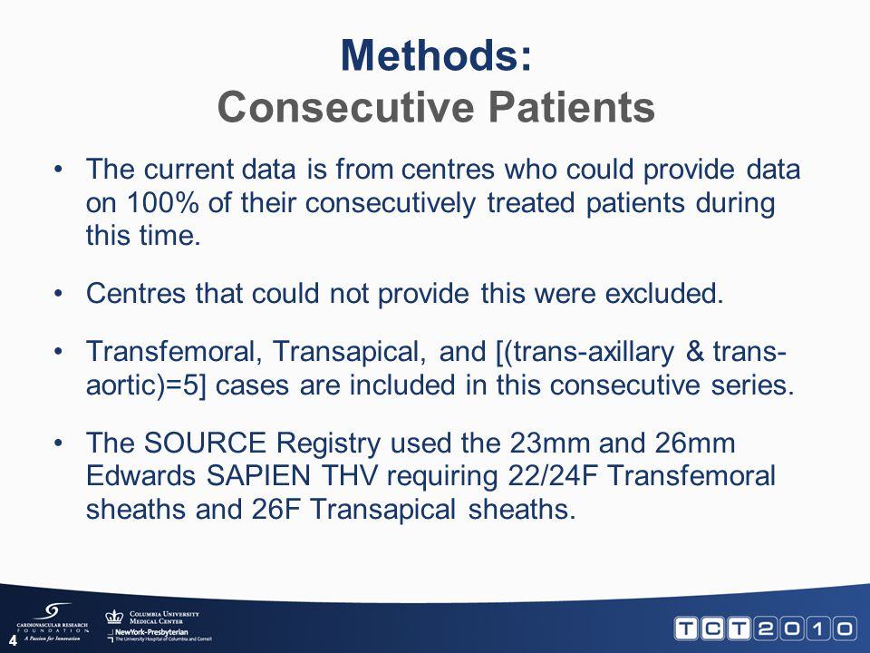 Methods: Consecutive Patients 4 The current data is from centres who could provide data on 100% of their consecutively treated patients during this ti