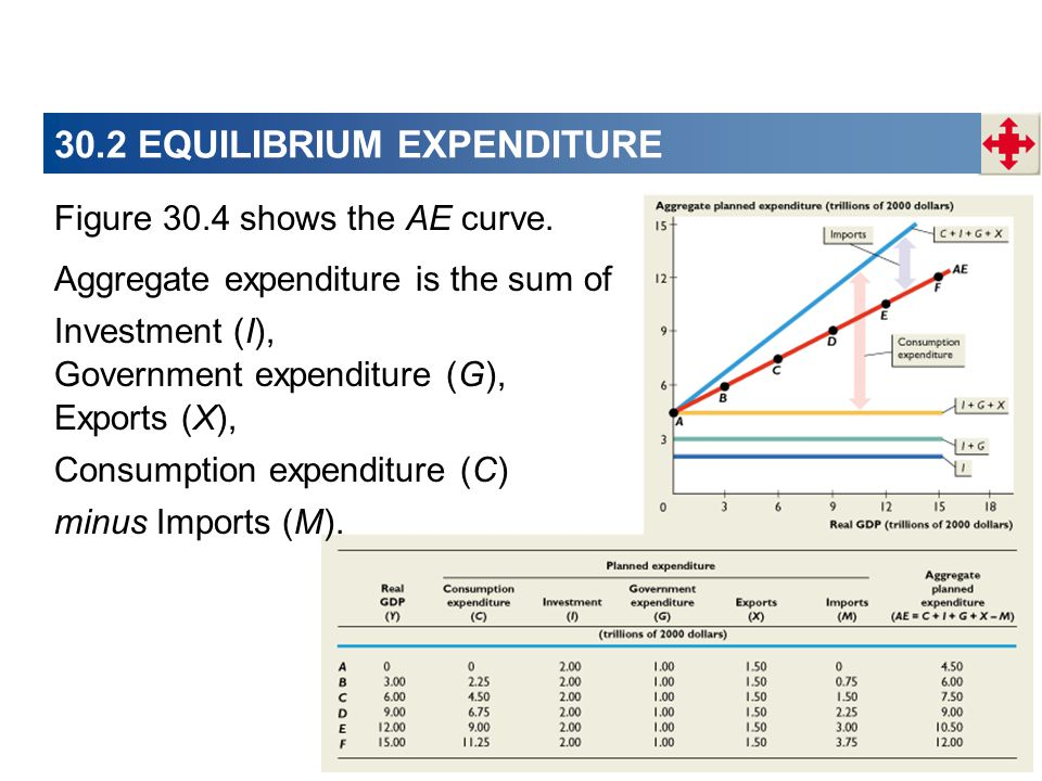 30.2 EQUILIBRIUM EXPENDITURE Investment (I), Exports (X), Figure 30.4 shows the AE curve.