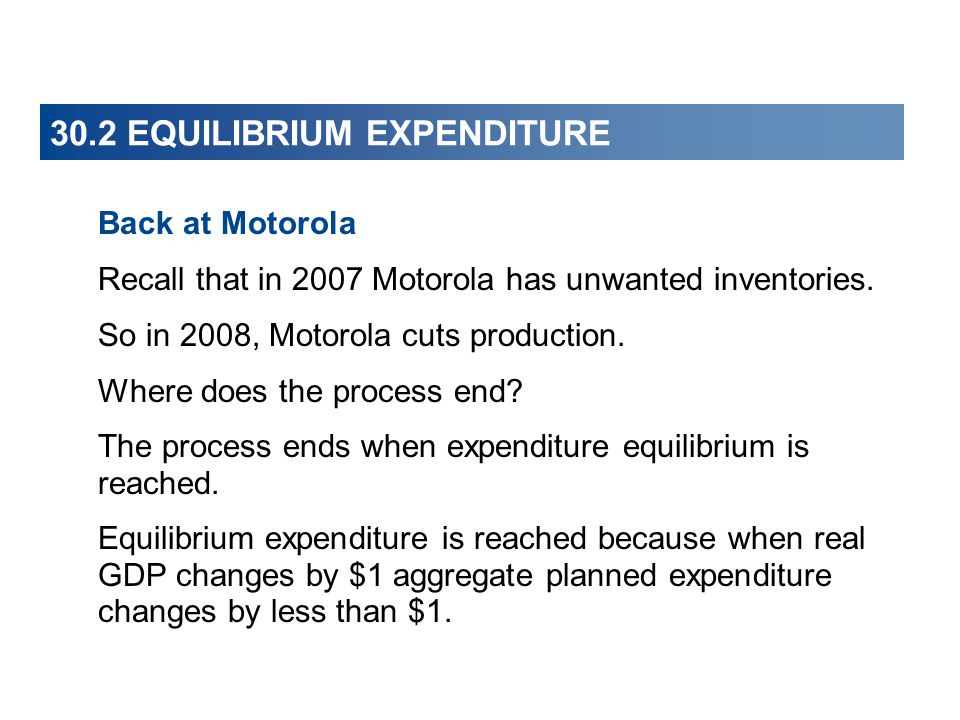 30.2 EQUILIBRIUM EXPENDITURE Back at Motorola Recall that in 2007 Motorola has unwanted inventories.