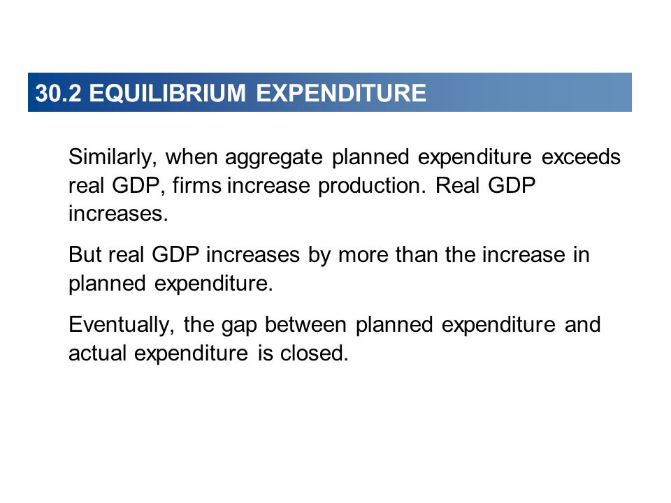 30.2 EQUILIBRIUM EXPENDITURE Similarly, when aggregate planned expenditure exceeds real GDP, firms increase production.