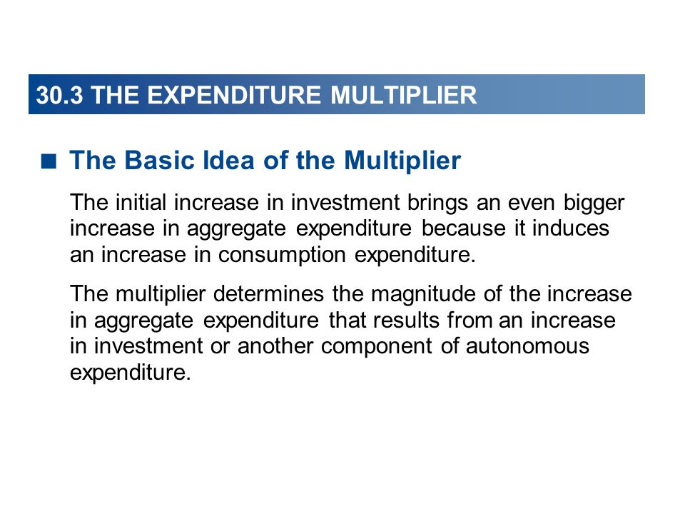 30.3 THE EXPENDITURE MULTIPLIER  The Basic Idea of the Multiplier The initial increase in investment brings an even bigger increase in aggregate expenditure because it induces an increase in consumption expenditure.