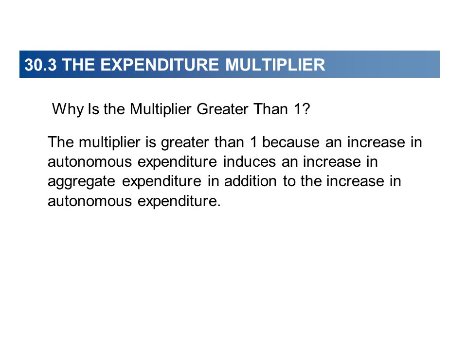 30.3 THE EXPENDITURE MULTIPLIER Why Is the Multiplier Greater Than 1.