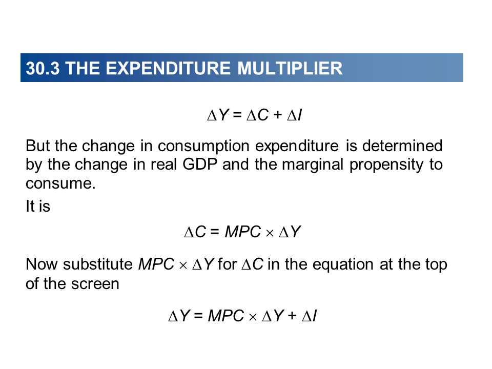 30.3 THE EXPENDITURE MULTIPLIER  Y =  C +  I But the change in consumption expenditure is determined by the change in real GDP and the marginal propensity to consume.