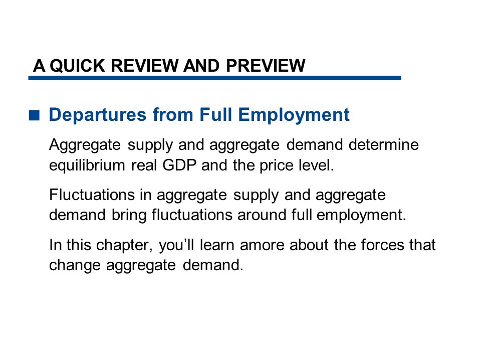  Departures from Full Employment Aggregate supply and aggregate demand determine equilibrium real GDP and the price level.