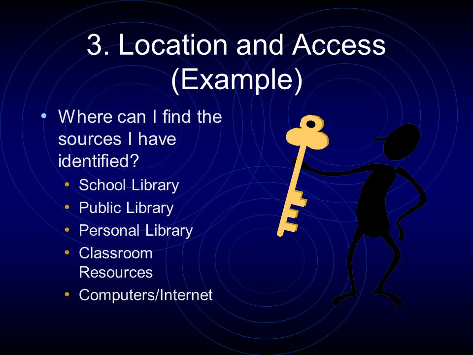3. Location and Access (Example) Where can I find the sources I have identified? School Library Public Library Personal Library Classroom Resources Co