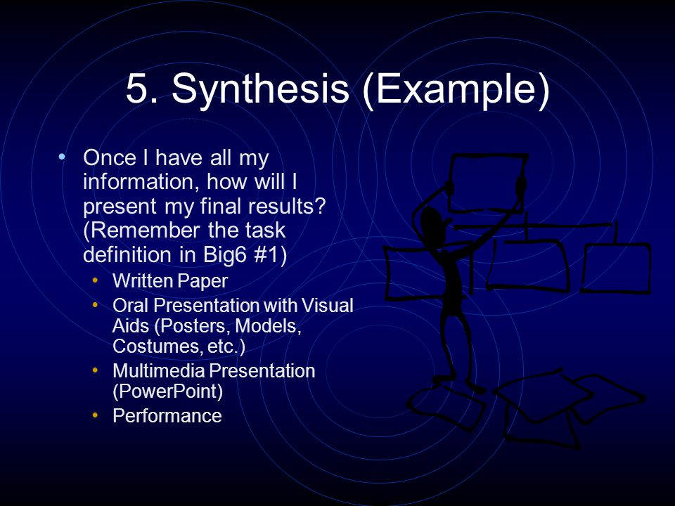 5. Synthesis (Example) Once I have all my information, how will I present my final results.