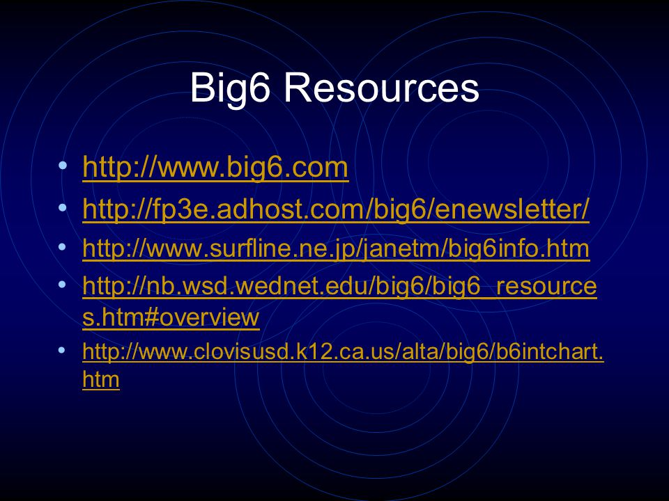 Big6 Resources http://www.big6.com http://fp3e.adhost.com/big6/enewsletter/ http://www.surfline.ne.jp/janetm/big6info.htm http://nb.wsd.wednet.edu/big6/big6_resource s.htm#overview http://nb.wsd.wednet.edu/big6/big6_resource s.htm#overview http://www.clovisusd.k12.ca.us/alta/big6/b6intchart.