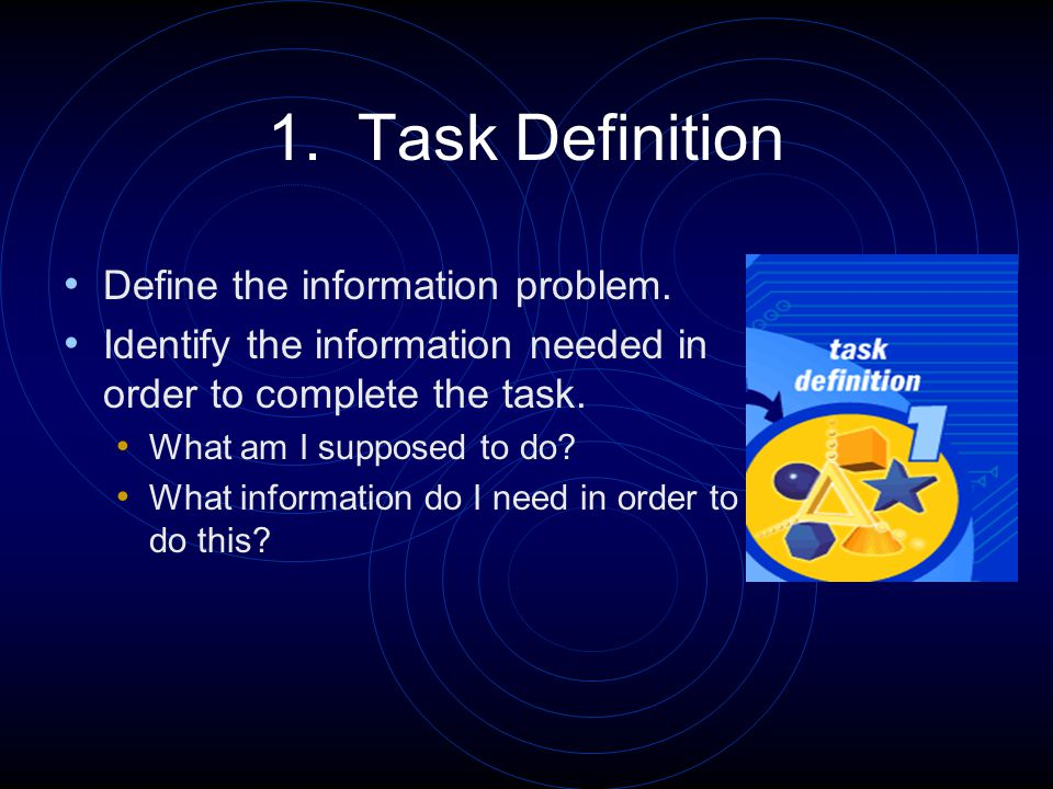 1.Task Definition (Example) First, I have to determine my task.
