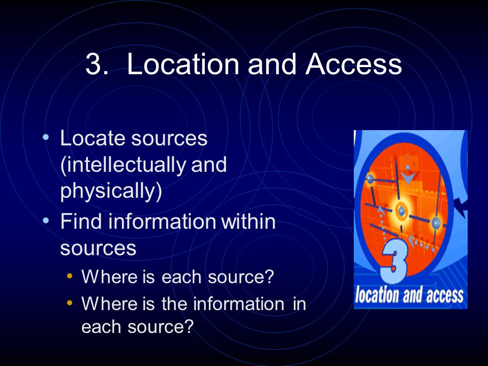 3. Location and Access Locate sources (intellectually and physically) Find information within sources Where is each source? Where is the information i