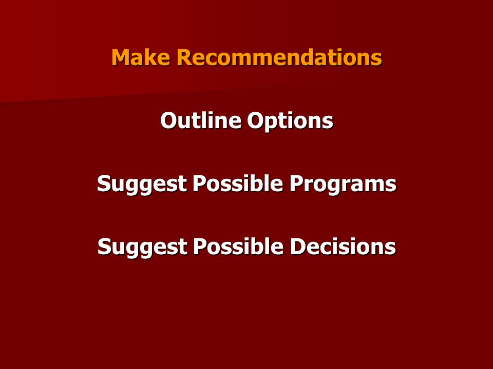 Make Recommendations Outline Options Suggest Possible Programs Suggest Possible Decisions