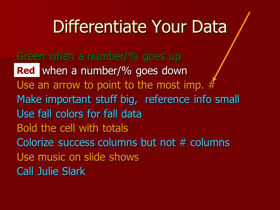 Differentiate Your Data Green when a number/% goes up Red when a number/% goes down Use an arrow to point to the most imp.