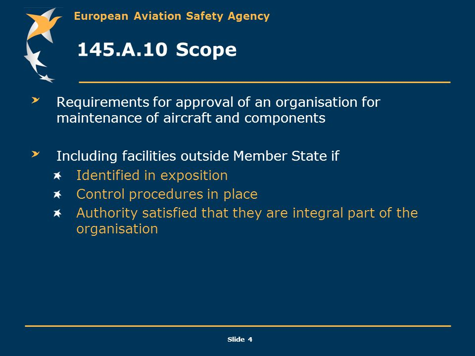 European Aviation Safety Agency Slide 4 145.A.10 Scope Requirements for approval of an organisation for maintenance of aircraft and components Includi