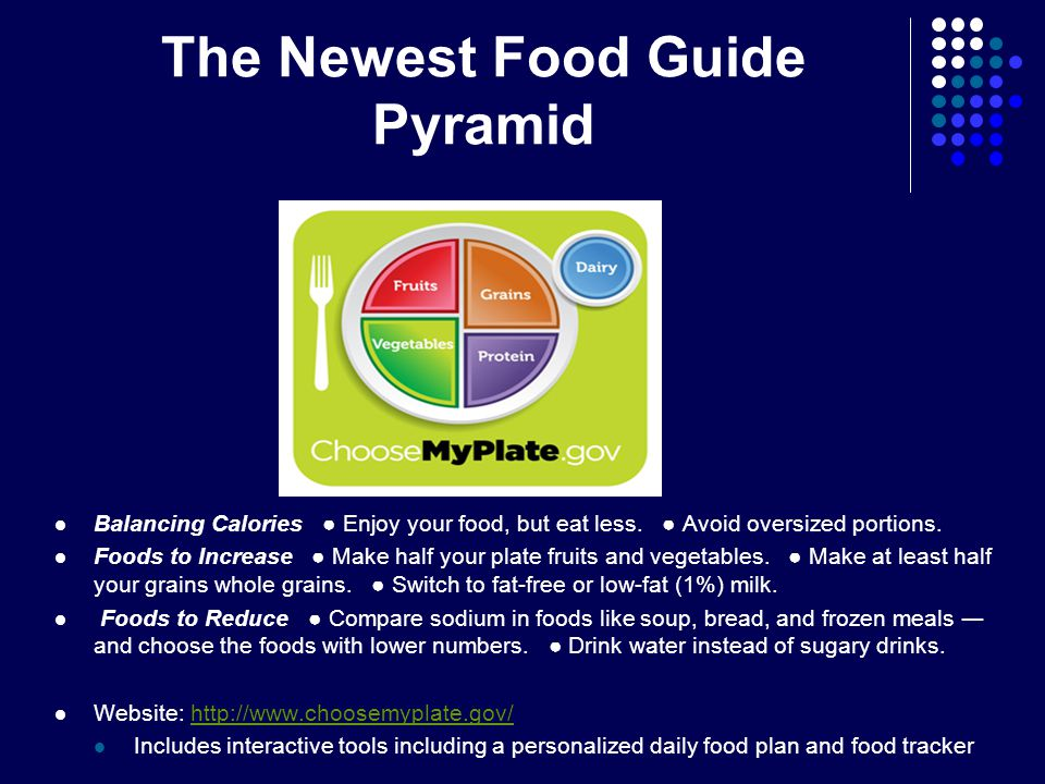 The Newest Food Guide Pyramid Balancing Calories ● Enjoy your food, but eat less.