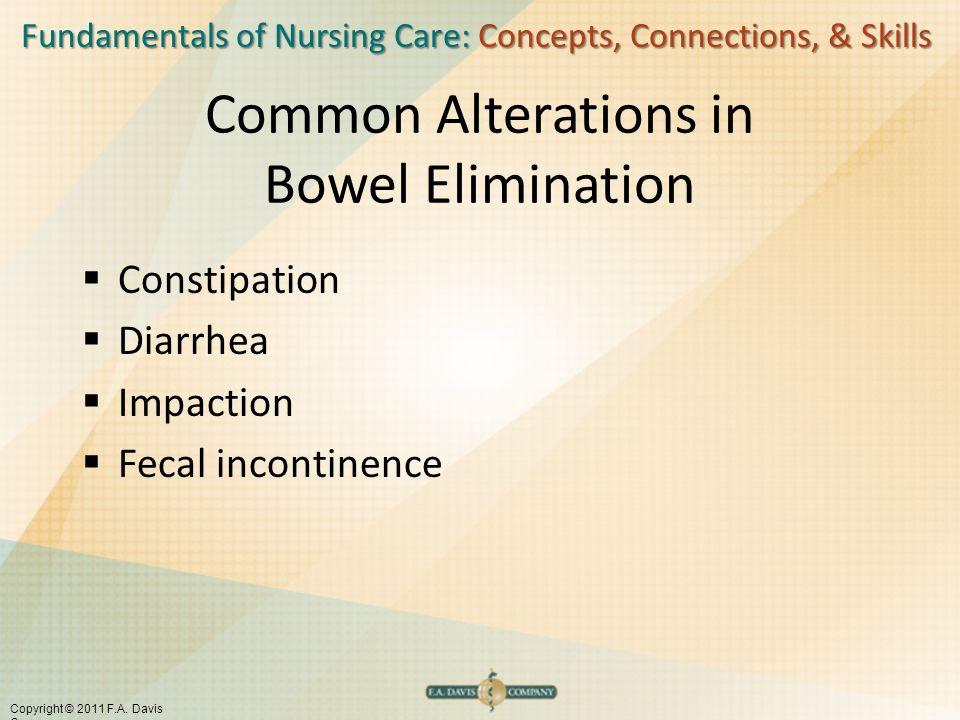 Fundamentals of Nursing Care: Concepts, Connections, & Skills Copyright © 2011 F.A. Davis Company Common Alterations in Bowel Elimination  Constipati