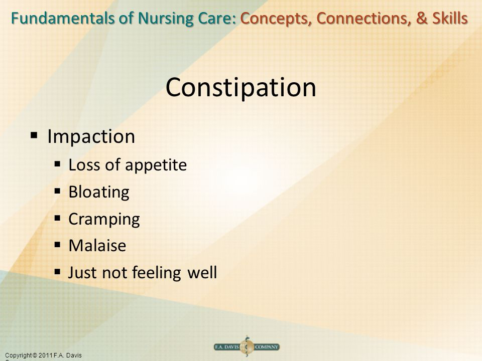 Fundamentals of Nursing Care: Concepts, Connections, & Skills Copyright © 2011 F.A. Davis Company Constipation  Impaction  Loss of appetite  Bloati