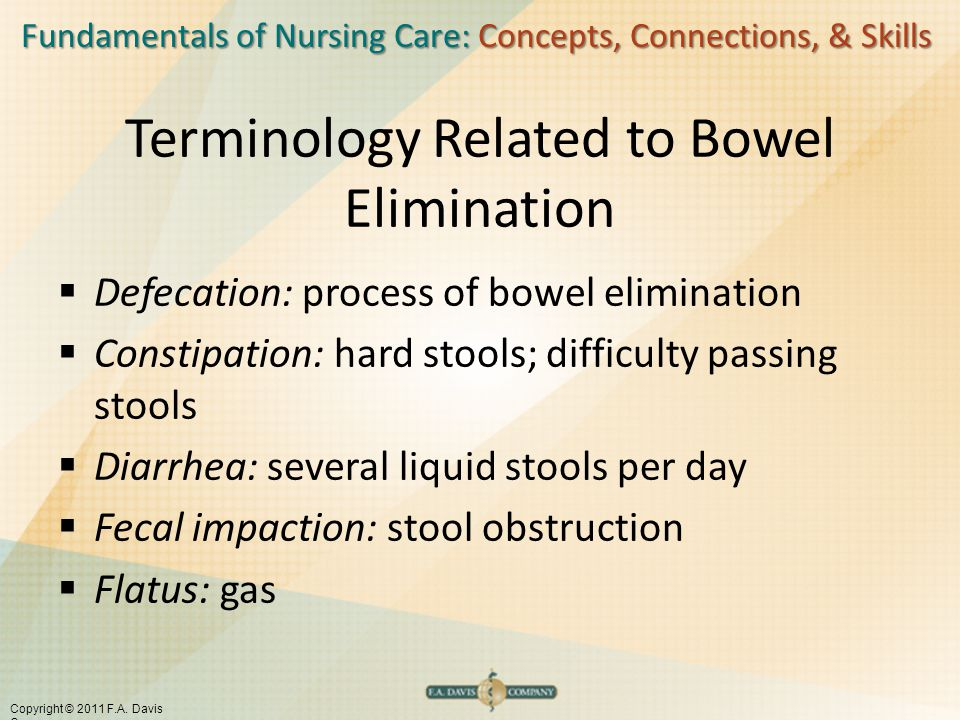 Fundamentals of Nursing Care: Concepts, Connections, & Skills Copyright © 2011 F.A. Davis Company Terminology Related to Bowel Elimination  Defecatio