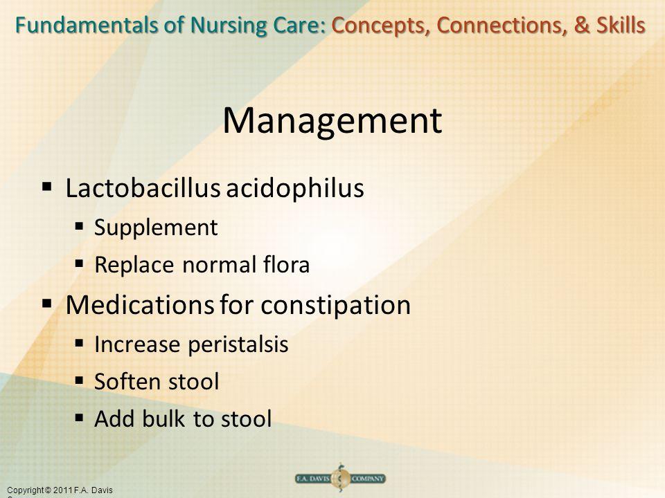 Fundamentals of Nursing Care: Concepts, Connections, & Skills Copyright © 2011 F.A. Davis Company Management  Lactobacillus acidophilus  Supplement