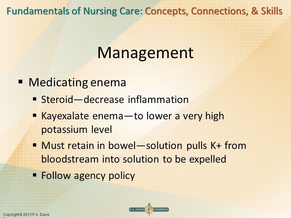 Fundamentals of Nursing Care: Concepts, Connections, & Skills Copyright © 2011 F.A. Davis Company Management  Medicating enema  Steroid—decrease inf
