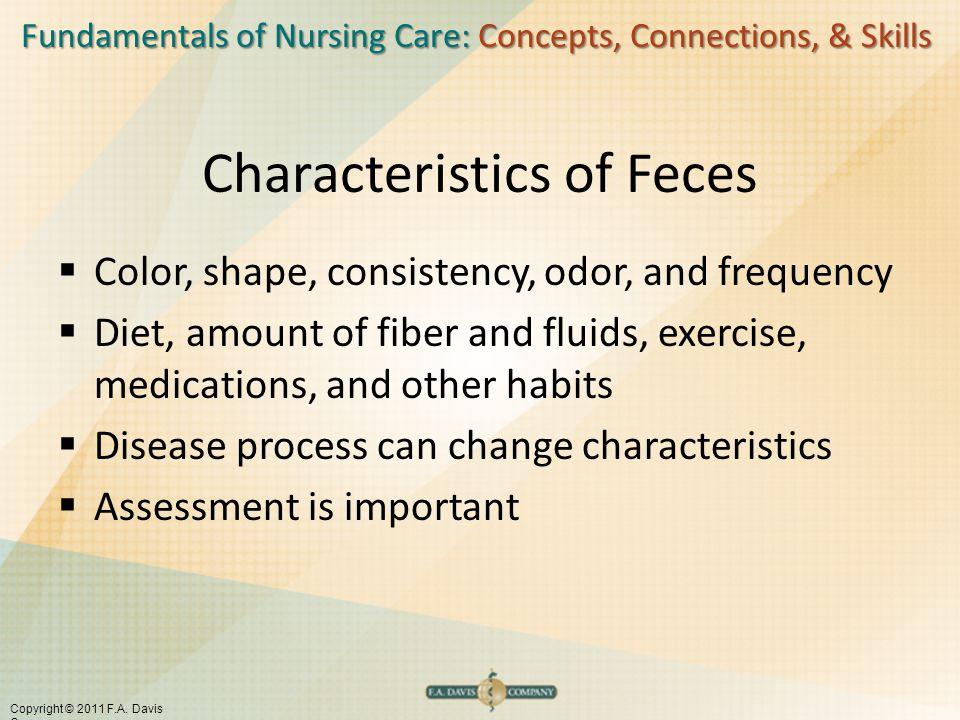 Fundamentals of Nursing Care: Concepts, Connections, & Skills Copyright © 2011 F.A. Davis Company Characteristics of Feces  Color, shape, consistency