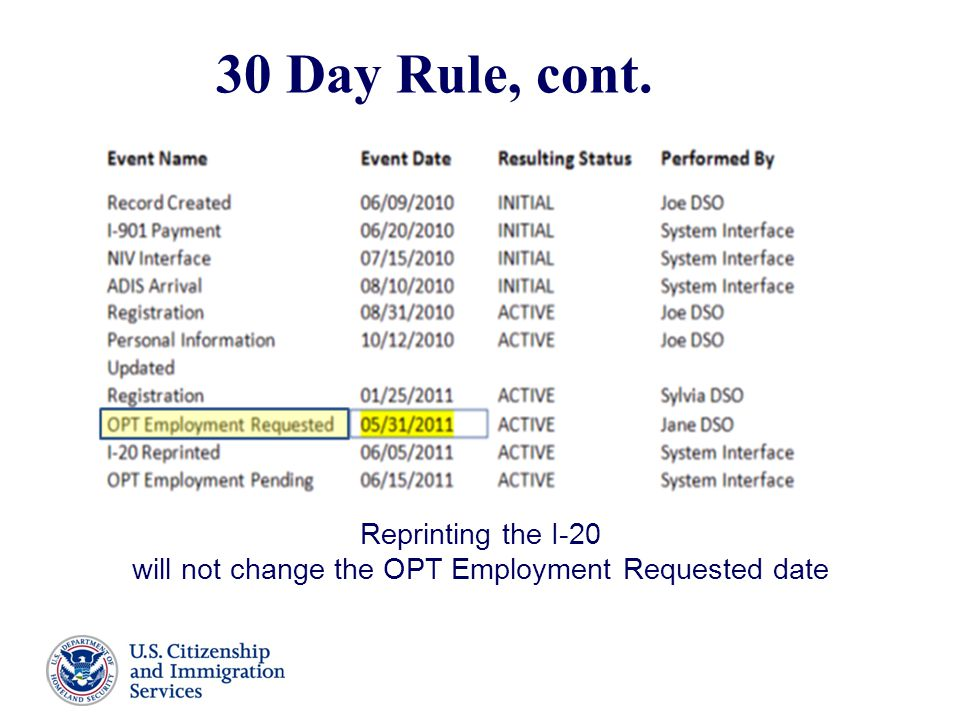 30 Day Rule, cont. Reprinting the I-20 will not change the OPT Employment Requested date