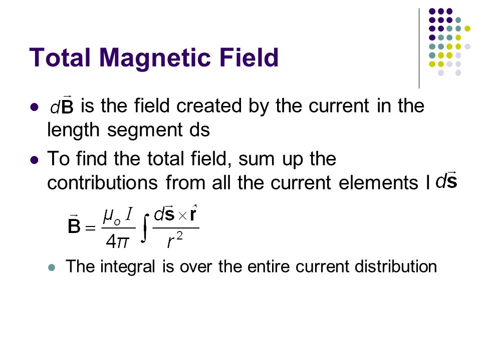 Total Magnetic Field is the field created by the current in the length segment ds To find the total field, sum up the contributions from all the current elements I The integral is over the entire current distribution