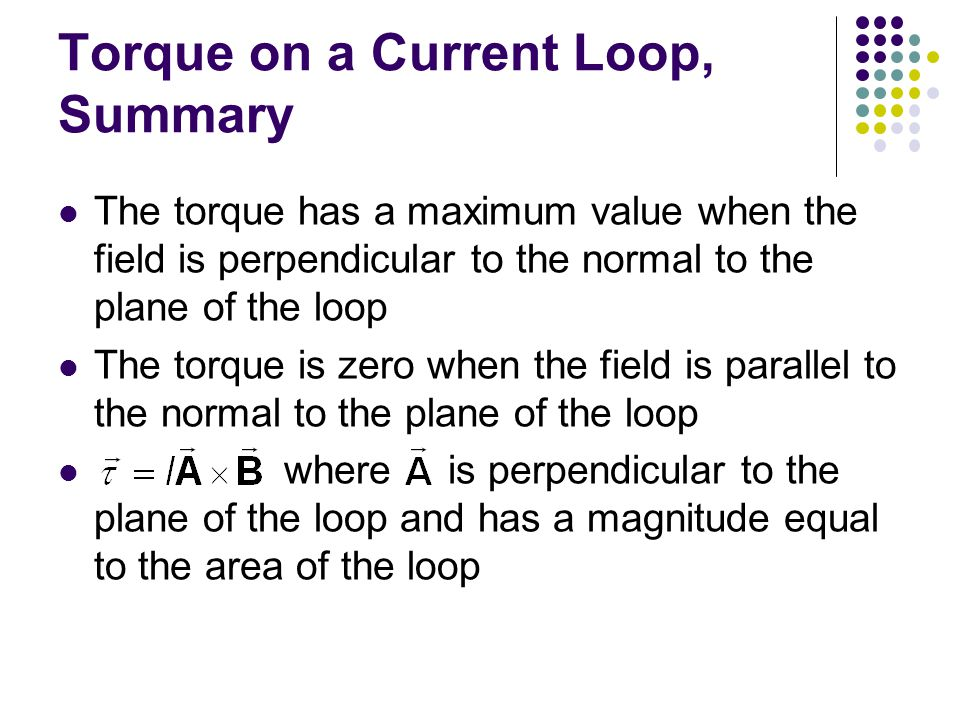 Torque on a Current Loop, Summary The torque has a maximum value when the field is perpendicular to the normal to the plane of the loop The torque is zero when the field is parallel to the normal to the plane of the loop where is perpendicular to the plane of the loop and has a magnitude equal to the area of the loop
