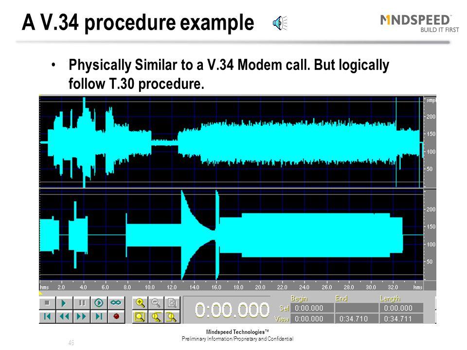 45 Mindspeed Technologies™ Preliminary Information/Proprietary and Confidential V.34 Handshake: Follow V.34 procedure